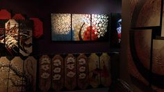 White Blue Red Japanese Sakura Blower Blossom Tree Triptych Canvas Panel Art by Studio Mojo Artwork