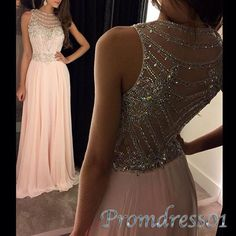 2016 new design see-through sequins back pink chiffon long modest prom dress, evening dress for teens
