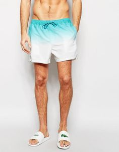 ASOS+Short+Length+Swim+Shorts+In+Blue+Dip+Dye