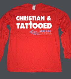 red Christian and tattooed long sleeve T-shirt