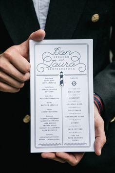 Wedding program: http://www.stylemepretty.com/pennsylvania-weddings/philadelphia/2014/09/29/modern-nautical-philadelphia-wedding/   Photography: Emily Wren - http://emilywrenweddings.com/