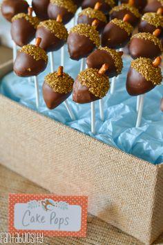 Woodland Friends First Birthday Party Ideas Acorn Cake Pops http://fantabulosity.com
