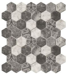 Recycled Hexagon Glass Tile Ancient Grey