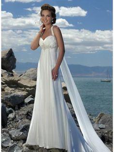 Empire Waist Spaghetti Straps Brush Train Chiffon Beach Wedding Dress at HerDress Online