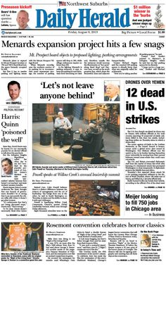 Daily Herald front page, Aug. 9, 2013; browse our e-edition at http://eedition.dailyherald.com/
