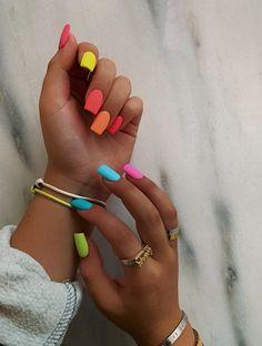 Elegant Rhinestones Coffin Nails Designs - New Ideas Rainbow Nails Rainbow Nails Summer Acrylic Nails, Best Acrylic Nails, Pastel Nails, Solid Color Nails, Nail Colors, Different Color Nails, Milky Nails, Aycrlic Nails, Coffin Nails