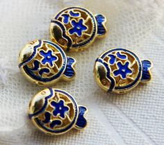 Top Qiality flower fish wiry enamel craft gilding jewelry beads, gilding beads, fish beads,good for DIY jewelry,14mm by ForDIYsupplies on Etsy