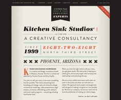 The way the shape of the sticky menu border matches that of the sides makes the page look like its own element. I like! www.kitchensinkstudios.com