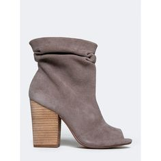 BREAKUP BOOTIE ($99) ❤ liked on Polyvore featuring shoes, boots, ankle booties, grey, chinese laundry booties, peep toe ankle boots, grey suede booties, slouch ankle boots and gray suede booties
