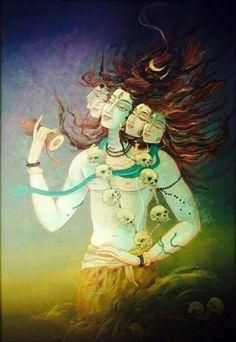 Shiva PanchMukhi Shiva Shiv By Artist Tanushree Ghosh From Kolkata Calcutta West Bengal India Mahakal Shiva, Shiva Art, Hindu Art, Lord Shiva Hd Images, Shiva Lord Wallpapers, Om Namah Shivaya, Indian Gods, Indian Art, Tantra