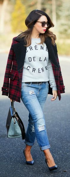 Red Plaid Coat + Lovely Sweater / Best LoLus Street Fashion