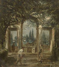 Vista del jardín de la Villa Medici de Roma con la estatua de Ariadna - Colección - Museo Nacional del Prado