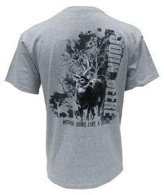 John Deere Black & White Deer on Grey Tee Shirt