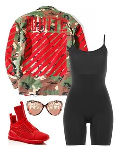 """Untitled #5239"" by stylistbyair ❤ liked on Polyvore featuring Matthew Williamson, SPANX and Puma"