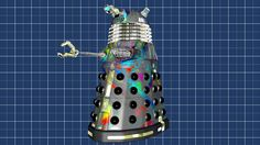 Vandalised Type 6 Hover Dalek.  Original model created by Mechmaster (mechmaster@cg-lair.co.uk).  OBJ conversion to LWO and surfacing/texturing by me.  Graph Paper 3D model created by me.