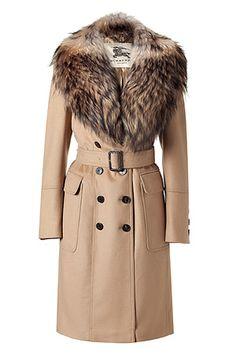 Camel Coat with Detachable Fur Collar - Burberry