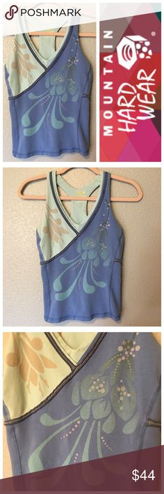 Mountain Hard Wear Work Out Gym Razor Back Tank S • Name brand: Mountain HardWear • Style: Floral, Sequins, & Stripes • Condition: Great! Worn a few times! • Size: Small • Colors: Lavender, Mint, Grey, & Tan •Material: 90% Cotton, 10% Elastane • Details: Build-in Bra, Breathtaking floral design, v neck, sleeveless, razor back • SOLD OUT ONLINE! • Perfect for spring & summer! Mountain Hard Wear Tops Tank Tops