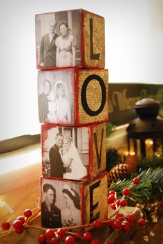 Love Blocks....Filled with photos of Loved ones on wedding days!