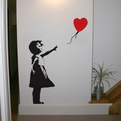 This Banksy wall sticker is one of Banksy's more poignant stencils, and has appeared in London at various locations since this sticker comes in one size; Banksy Wall Stickers, Banksy Wall Art, Wall Decals, Girls Life, Art Images, Creative Art, Stencils, Graffiti, Street Art