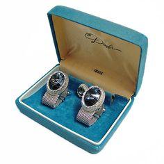 https://www.etsy.com/uk/listing/545291469/vintage-swank-wrap-around-cufflinks- #etsy shop: Vintage Swank Wrap Around Cufflinks & Tie Tack Set Steel Blue Rivoli Stone - 1950s-60s - Silver finish mesh wraparound  http://etsy.me/2jXrH08 #christmasgifts #wedding  #blue #vintageswank