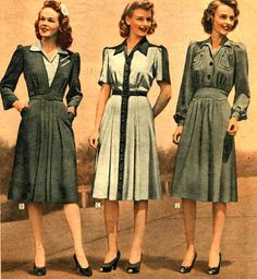 Young Women's Dresses (1942) #1940s #vintage #clothing #fashion