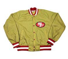 Vintage 90s Chalk Line San Francisco 49ers Gold Windbreaker Jacket Mens Size Large