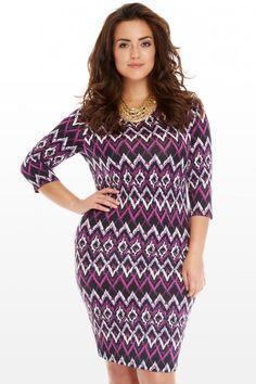 Plus Size Zarah Chevron Bodycon Dress | Fashion To Figure $39.90