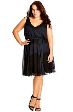 City+Chic+'Dark+Lace'+Belted+Lace+&+Chiffon Dress+(Plus+Size)+available+at+#Nordstrom