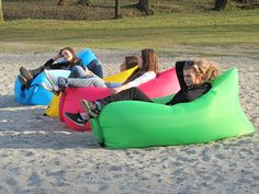 A must have this summer! A inflatable portable lounger. Your lungs get to rest too: you inflate it by sweeping it through the air.
