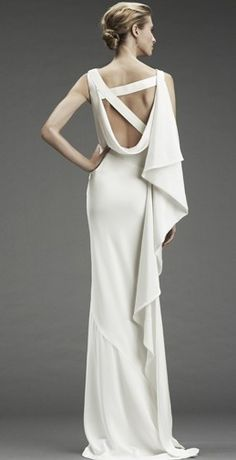 scoop back. Regal white gown.