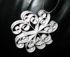 DIY snowflake ornament from wedding invitation