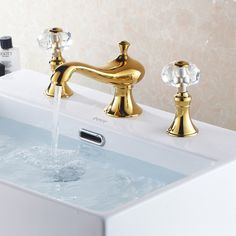 126 - Revice Double Crystal Handle Widespread Sink Tap