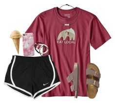 A fashion look from April 2017 featuring logo shoes, stackers jewellery and beaded choker necklace. Browse and shop related looks. Cute Lazy Outfits, Cute Outfits For School, Short Outfits, Outfits For Teens, Trendy Outfits, Cheer Outfits, Nike Shorts Outfit, Summer Shorts Outfits, Casual Summer Outfits