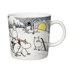 Skiing with Mr. Brisk Moomin Mug 2014 from Arabia by Tove Jansson, Tove Slotte Moomin Shop, Moomin Mugs, Moomin Valley, Tove Jansson, Christmas 2014, Cute Characters, Mugs Set, Finland, Childrens Books