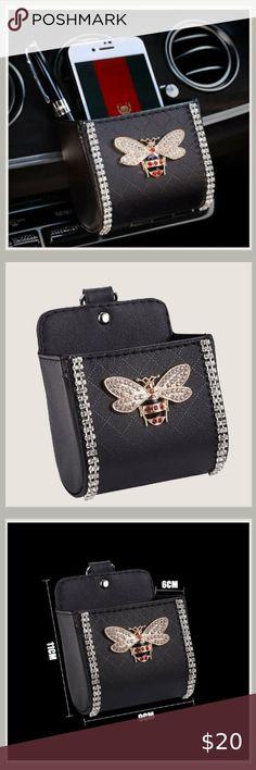 1Pcs Leather Car Storage Box Diamond Auto Outlet Air Vent Mobile Phone Bag Pouch