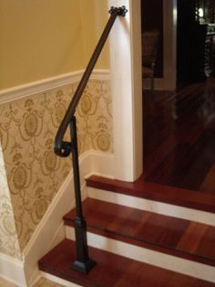 4 Ft Wrought Iron Handrail Stair Step Railing With Wall Post Mount