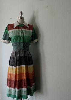 // 1950s sunset color block dress