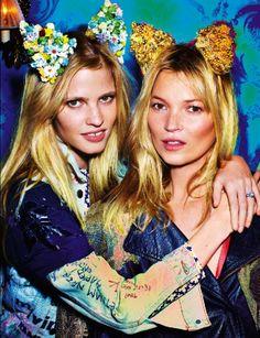 In Honor of International Cat Day, Fashion's Best Cat-itorials: Lara Stone and Cat Moss for Love