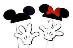 Disney Inspired Photo Booth Props - Set of 4 - Mickey Mouse and Minnie Mouse Props