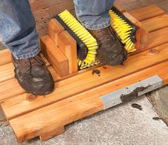 Mud-Busting Boot Scrape, Build this handy boot scraper yourself in less than two hours. Now you can clean your muddy boots hands-free and help keep your entryway clean. Works great on snow clogged boots as well. Outdoor Projects, Home Projects, Farm Projects, Homestead Survival, Survival Food, Survival Tips, Cool Stuff, Diy Stuff, Woodworking Projects