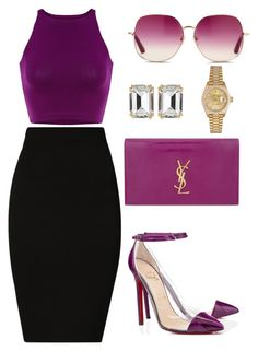 """Untitled #286"" by amoney-1 ❤ liked on Polyvore featuring Plein Sud, Christian Louboutin, Yves Saint Laurent, House of Lavande, Matthew Williamson and Rolex"