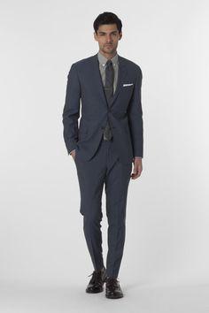Slim Stripe Mayfair Fit Suit in Navy