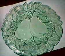 """Avocado"" pattern depression glass.  Would love to begin a collection, but it's $$$.  Must settle for the one dessert plate I have---a wonderful gift from my mom! :)"
