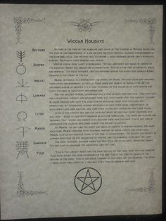 Wiccan Holidays. This is just fascinating.