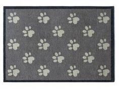 Tierische FußmattenPREMIUM Hunde Fußmatte: Pfoten - 50 x 75 cm grau
