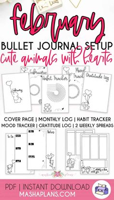 Adorable February Bullet Journal setup, ready to use right away. Monthly theme - cute animals with hearts. All the pages you need to set up a successful month - cover page, monthly log, habit tracker, mood tracker, gratitude log, and two weekly spreads. Vertical weekly log and horizontal weekly log. #mashaplans #bujo #printables #plannerprintables Bullet Journal Printables, Bullet Journal Themes, Bullet Journal Inspiration, February Bullet Journal, Bullet Journal How To Start A, Printable Stickers, Printable Planner, Free Printables, What To Use