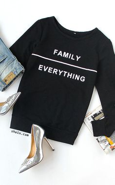 Cool slogan outfit. Black Letter Print Round Neck Long Sleeve T-shirt from shein.com.