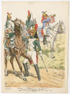 Italy; Royal Guards, dragoons. L to R Dragoon, Officer, Dragoon & Trumpeter 1812