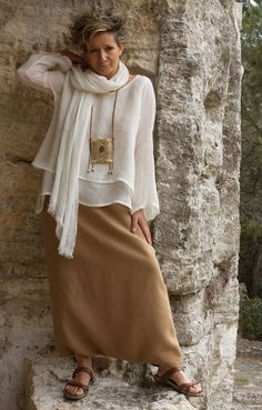 Loose fit layered linen gauze top -:- AMALTHEE -:- n° 3322