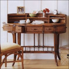 Rattan Desk China Bay Oval Desk by Palecek 7189, sale = $1650, eek!